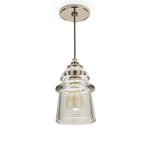 Waterworks Watt Ceiling Plate for Pendant in Nickel with Silver Cloth Cord & Plain Glass Shade