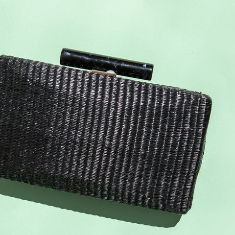 Clutch Hueso Rafia Negro Rectangular SS19 - brunacoleccion bruna invitadaperfecta invitadaboda invitadabruna boda guest wedding
