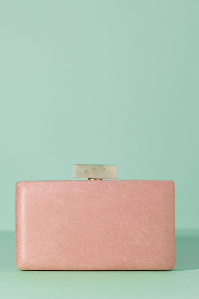 Clutch Rectangular Slim Hueso Rosa Suede Spring20 - brunacoleccion bruna invitadaperfecta invitadaboda invitadabruna boda guest wedding