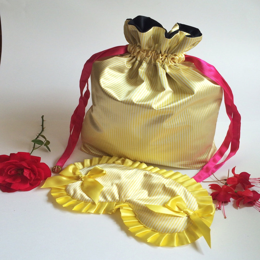 Yellow Stripe Lingerie Eye Mask Set