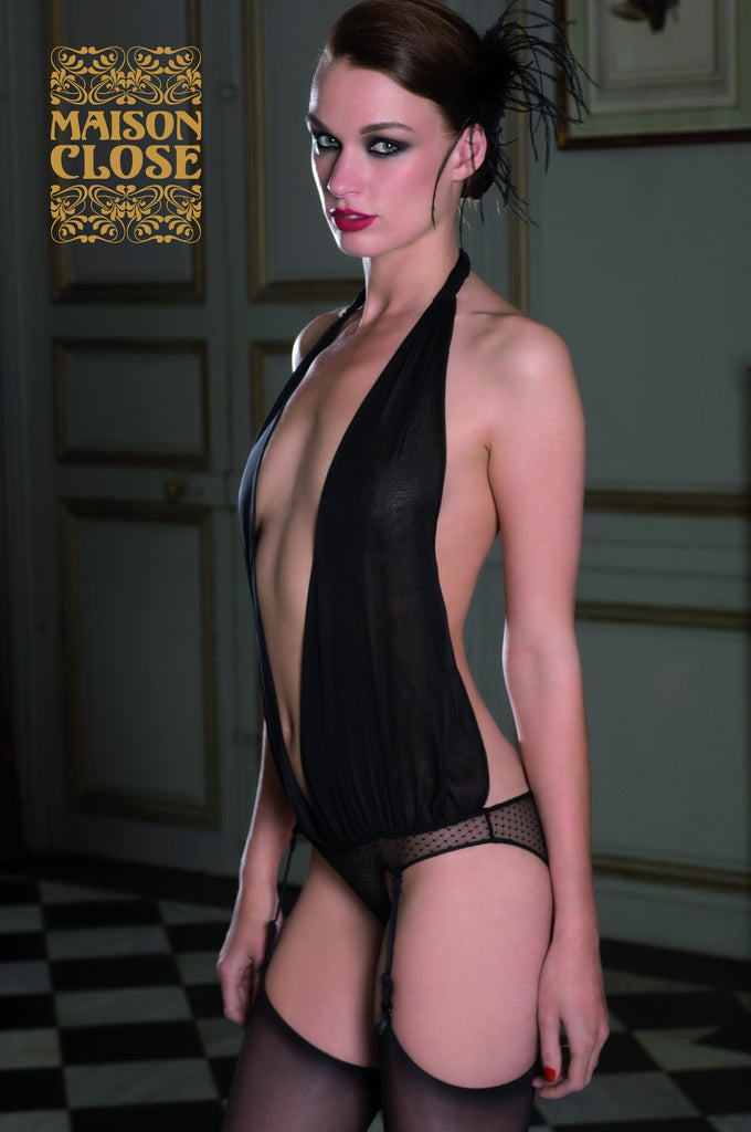 Music Hall Draped Panty Body with Suspenders