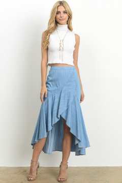 blue  high low skirt