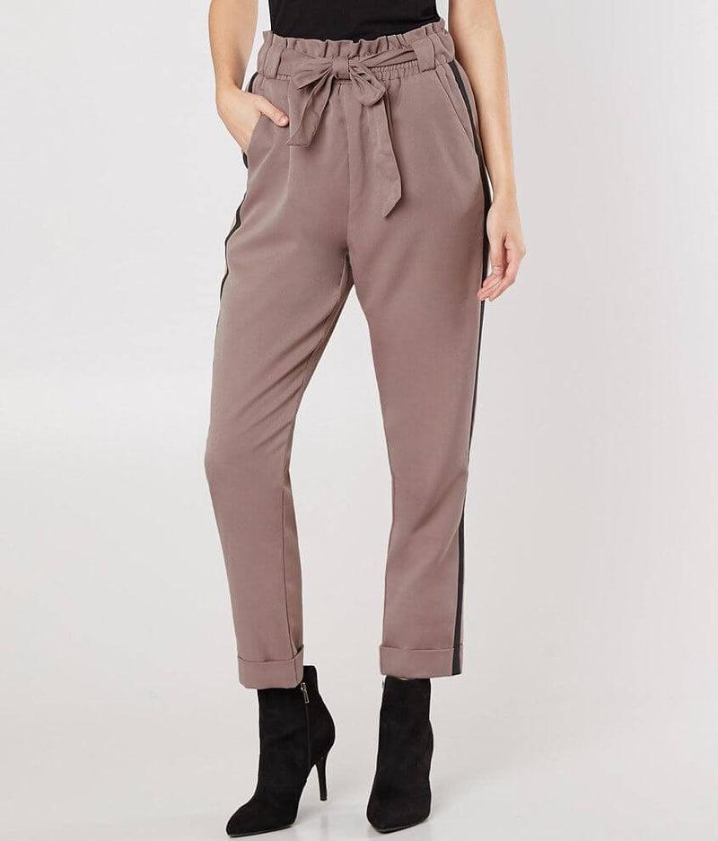 Side Striped Stretched Cuffed Pants