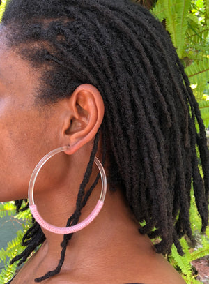 Pink Cloud Hoop Earrings
