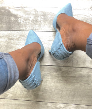 denim high heels