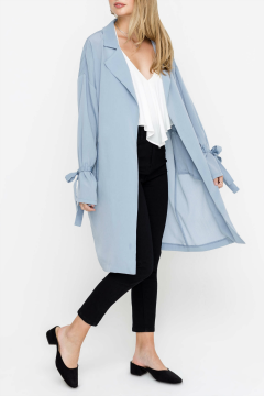 light blue duster coat