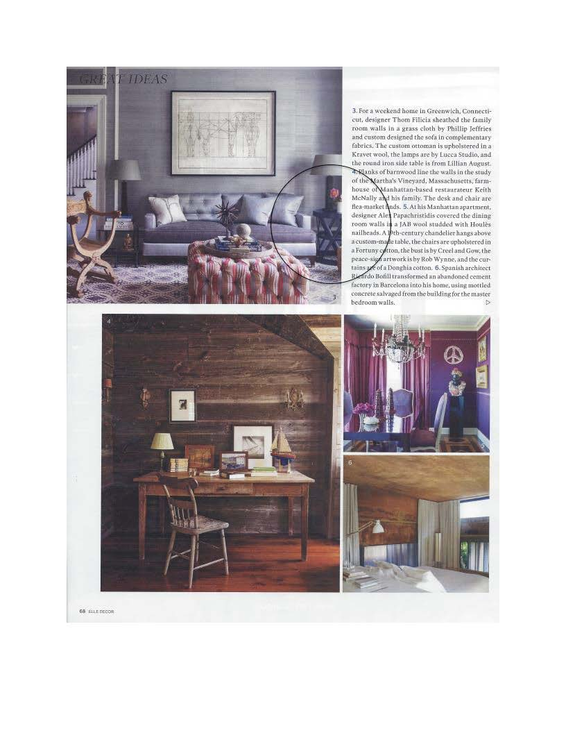 Also In This Magazine Thom Filicia Uses A Round Iron Side Table From Lillian  August To Complete The Look Of This Cozy Family Room Featured In Elle  Decoru0027s ...