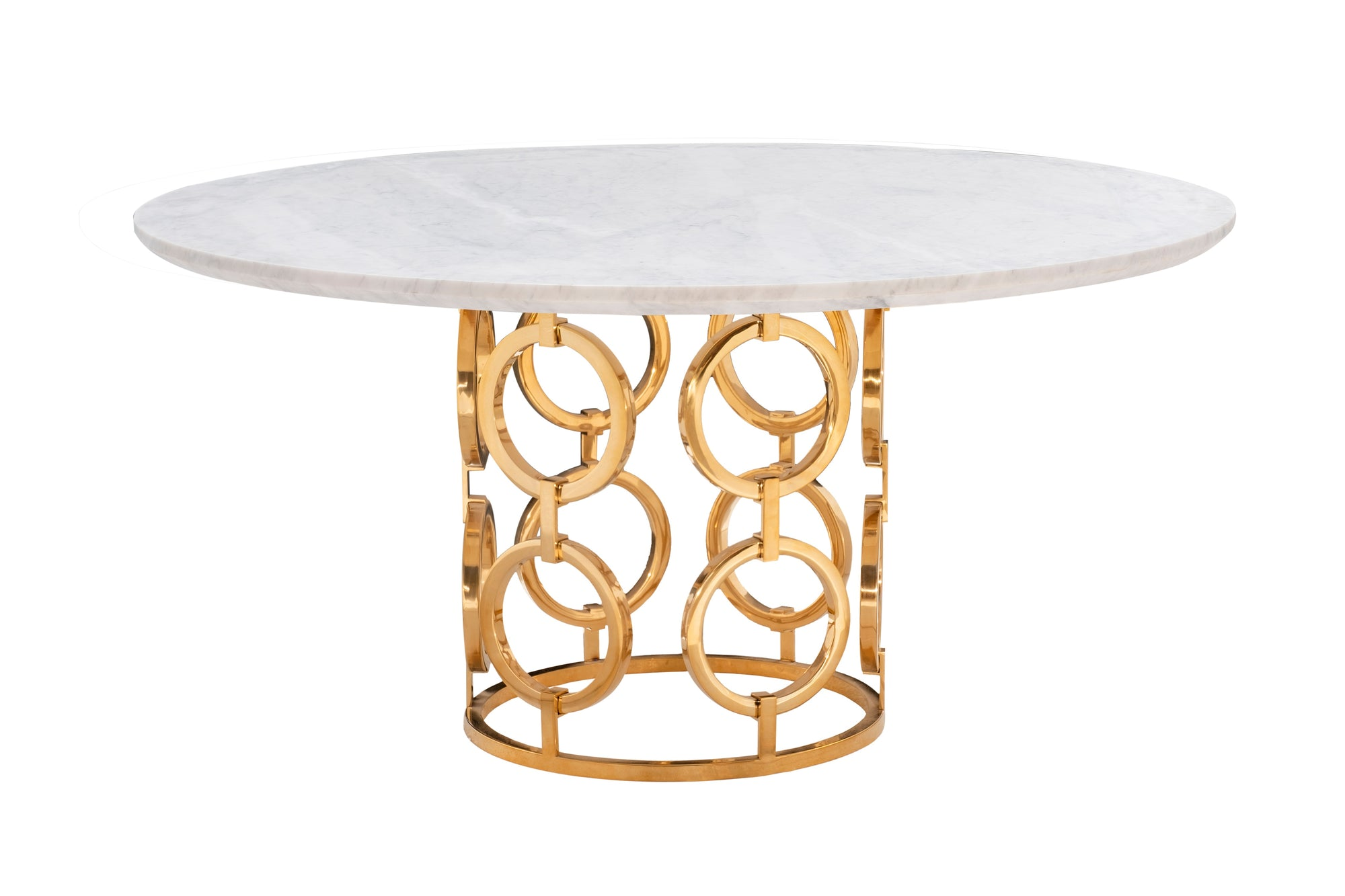 "MAUI DINING TABLE WITH 60"" WHITE CARRERA MARBLE TOP"
