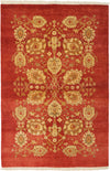 "Oushak, Red Wool Area Rug - 4' 2"" x 5' 10"""
