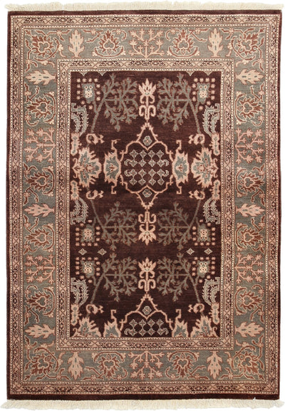 "Classic, Brown Wool Area Rug - 4' 3"" x 6' 1"""