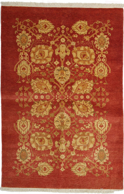 "Oushak, Red Wool Area Rug - 4' 2"" x 6' 1"""