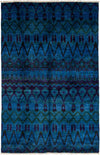 "Overdyed, Blue Wool Area Rug - 5' 10"" x 9' 1"""
