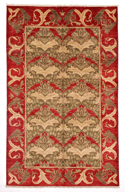 "Arts & Crafts, Red Wool Area Rug - 4' 10"" x 7' 10"""
