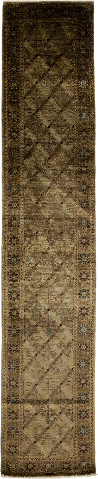 "Oushak, Brown Wool Runner - 3' 0"" x 15' 4"""