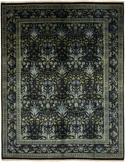 "Arts & Crafts, Green Wool Area Rug - 8' 1"" x 10' 4"""