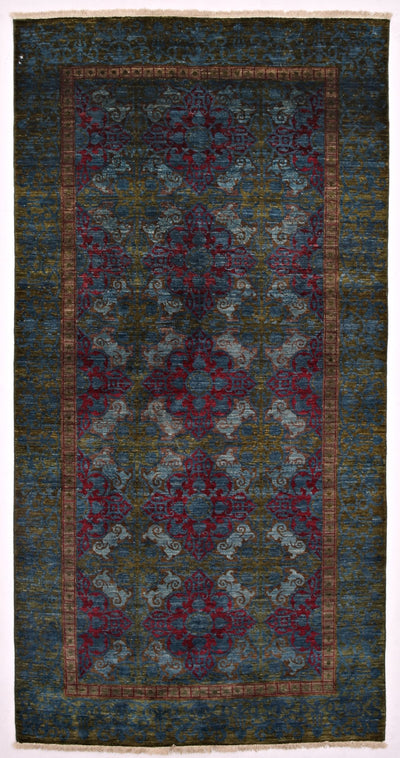 "Suzani, Green Wool Area Rug - 5' 2"" x 10' 1"""
