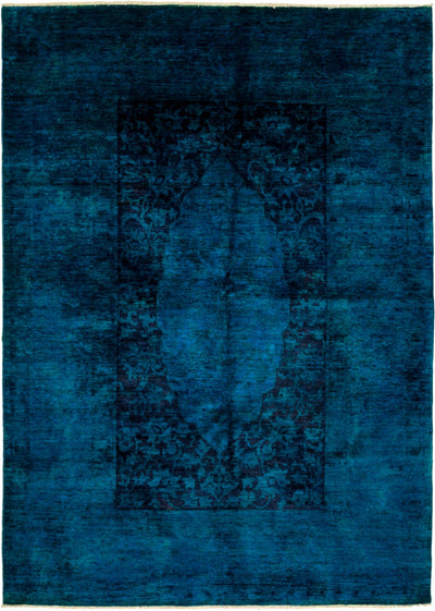 "Classic, Blue Wool Area Rug - 6' 1"" x 8' 5"""