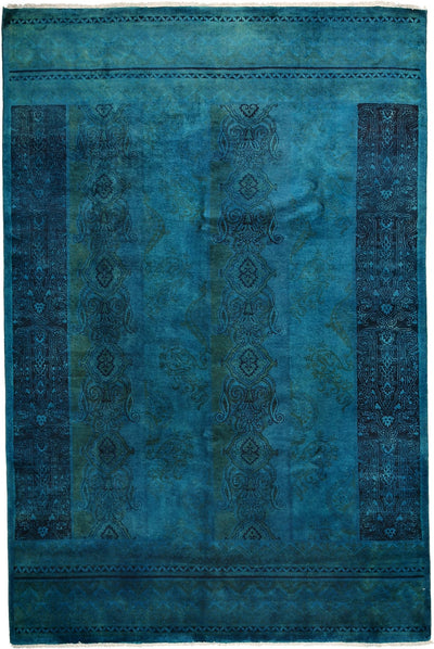 "Classic, Blue Wool Area Rug - 6' 2"" x 9' 1"""
