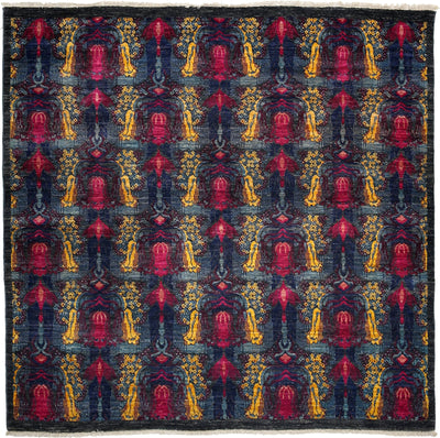"Suzani, Blue Wool Area Rug - 6' 1"" x 6' 2"""