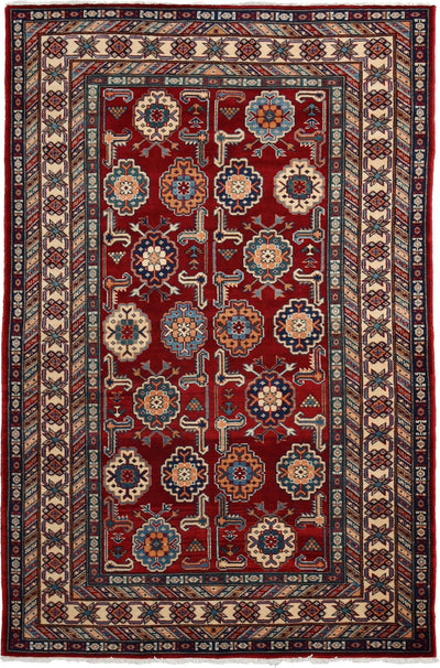 "Classic, Red Wool Area Rug - 4' 1"" x 6' 1"""