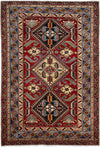 "Classic, Red Wool Area Rug - 4' 0"" x 5' 10"""