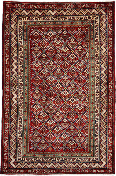"Classic, Red Wool Area Rug - 4' 1"" x 6' 4"""