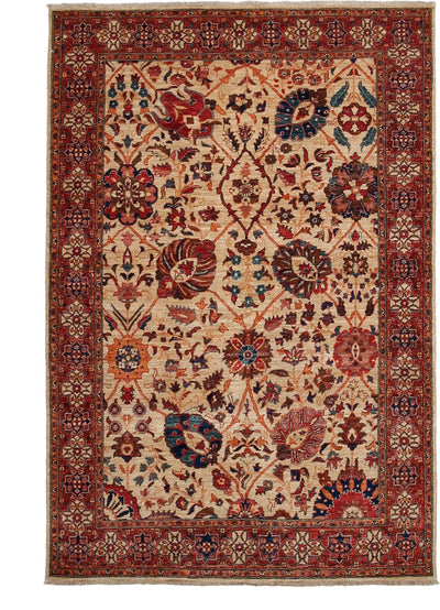 "Oushak, Red Wool Area Rug - 4' 8"" x 7' 0"""