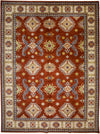 "Kazak, Brown Wool Area Rug - 10' 10"" x 14' 4"""