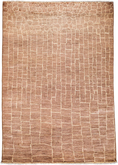 "Moroccan, Brown Wool Area Rug - 6' 1"" x 8' 10"""
