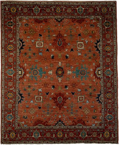 "Classic, Brown Wool Area Rug - 8' 4"" x 9' 10"""