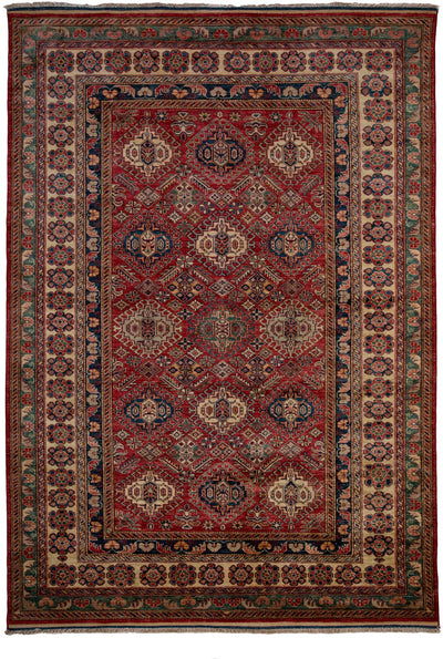 "Classic, Red Wool Area Rug - 6' 10"" x 9' 8"""