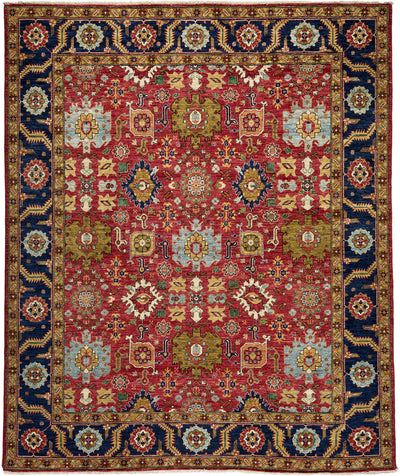 "Classic, Red Wool Area Rug - 8' 0"" x 9' 7"""