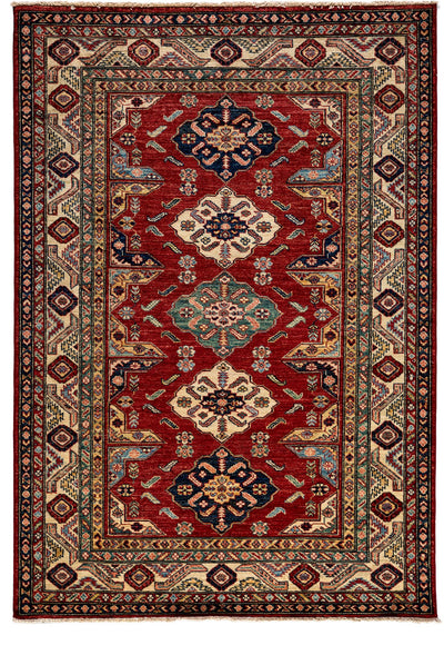 "Classic, Red Wool Area Rug - 4' 10"" x 7' 1"""