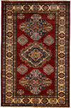 "Classic, Red Wool Area Rug - 3' 4"" x 5' 1"""