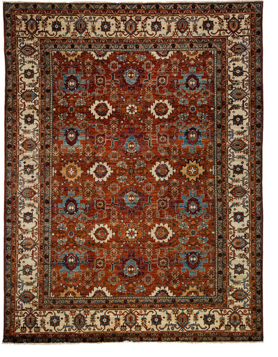 "Classic, Red Wool Area Rug - 9' 1"" x 12' 0"""