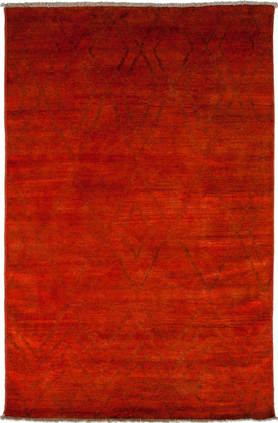 "Moroccan, Red Wool Area Rug - 5' 10"" x 8' 10"""