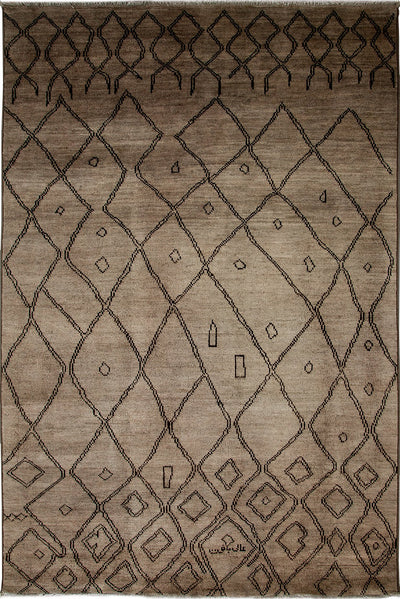 "Moroccan, Brown Wool Area Rug - 6' 0"" x 8' 10"""