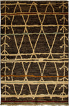 "Moroccan, Brown Wool Area Rug - 5' 2"" x 7' 10"""