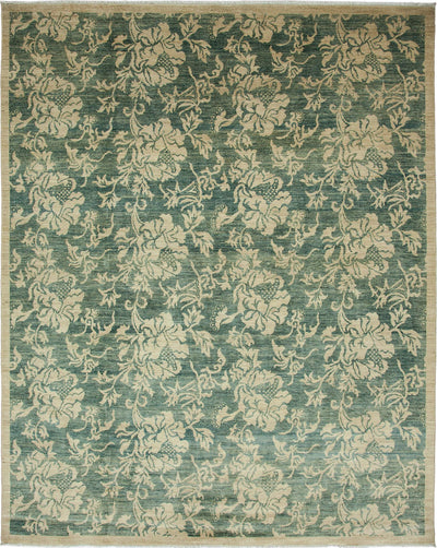 "Oushak, Green Wool Area Rug - 8' 2"" x 9' 10"""