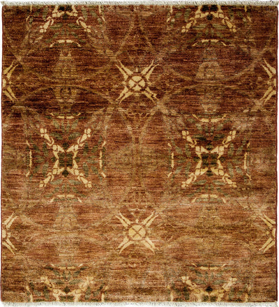 "Oushak, Brown Wool Area Rug - 4' 1"" x 4' 3"""