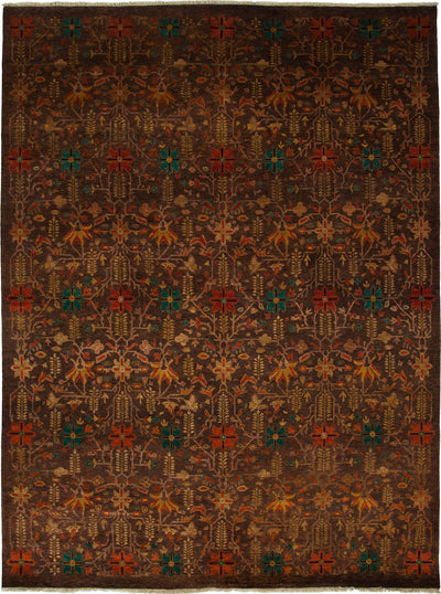 "Oushak, Brown Wool Area Rug - 9' 2"" x 12' 1"""