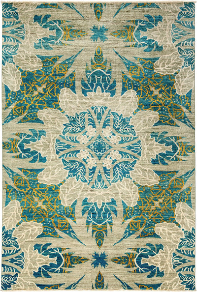 "Classic, Blue Wool Area Rug - 6' 4"" x 9' 3"""