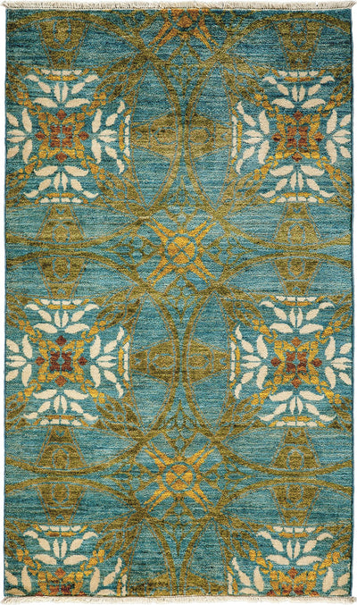 "Arts & Crafts, Blue Wool Area Rug - 3' 3"" x 5' 5"""