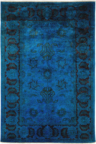 "Classic, Blue Wool Area Rug - 6' 0"" x 9' 0"""