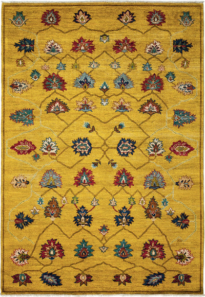 "Oushak, Yellow Wool Area Rug - 6' 3"" x 8' 10"""