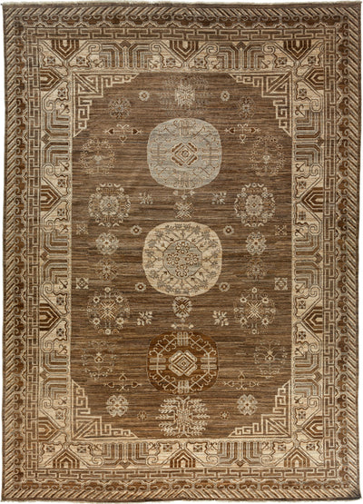 "Classic, Brown Wool Area Rug - 9' 9"" x 13' 7"""