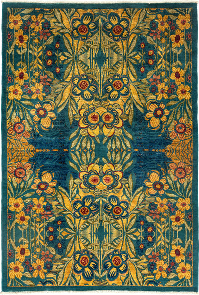 "Suzani, Blue Wool Area Rug - 5' 1"" x 7' 6"""