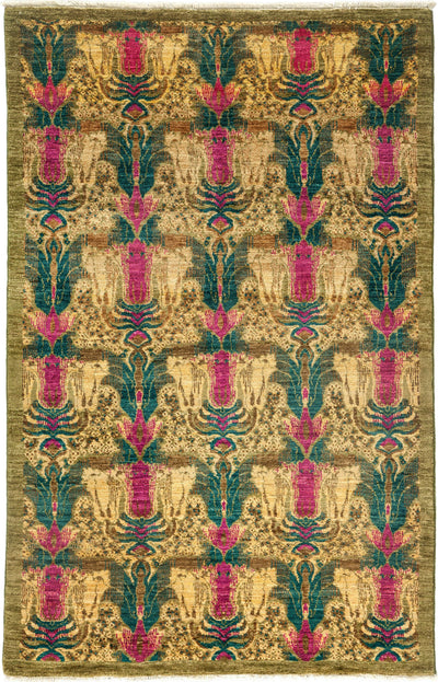 "Suzani, Green Wool Area Rug - 4' 3"" x 6' 7"""