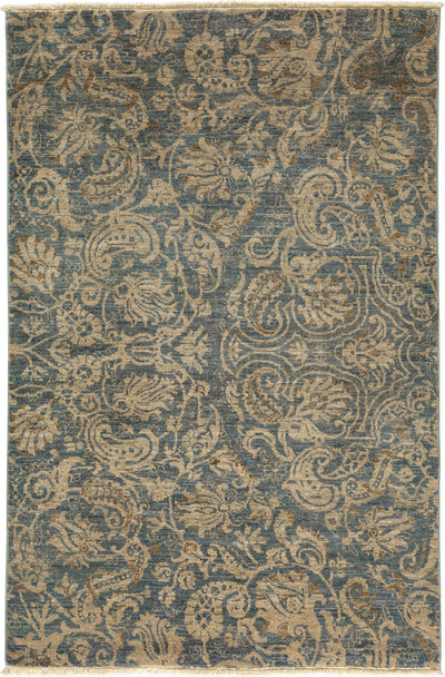 "Suzani, Gray Wool Area Rug - 4' 2"" x 6' 3"""