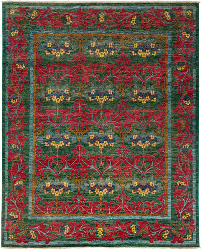 "Arts & Crafts, Green Wool Area Rug - 8' 1"" x 9' 10"""